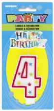 Number Four 4 Birthday Cake Candle With Topper